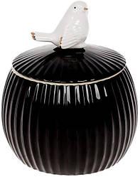 """Банка фарфоровая """"Птичка"""" 1350мл с объемным декором, черный глянец"""