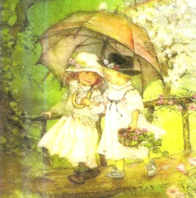Коллекционная декупажная салфетка Девочки под зонтиком 5467
