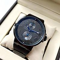 Мужские часы Ulysse Nardin Maxi Marine Carbon Black ААА наручные с автоподзаводом на каучуковом ремешке