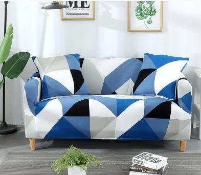 Универсальные чехлы накидки на 3-х местные диваны без юбки HomyTex с рисунком Ромб сине голубой