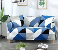 Универсальные чехлы накидки на 3-х местные диваны без юбки HomyTex с рисунком Ромб сине голубой, фото 1