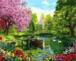 Картина малювання за номерами Mariposa Вишневый сад MR-Q2196 40х50 см Пейзаж, природа набор для росписи краски, кисти, холст