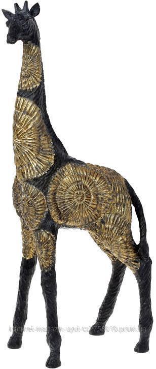 """Декоративна фігура """"Жираф"""" 22х10.5х51см полістоун, чорний з золотом"""