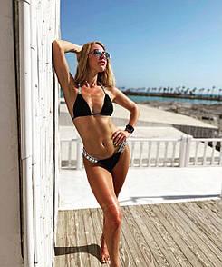 Женский однотонный черный купальник раздельный, Красивый модный купальник черного цвета 2021 с камнями