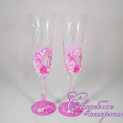 """Свадебные бокалы """"Розовые цветы"""""""