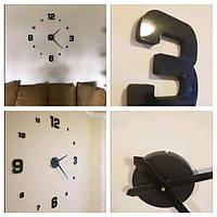 Часы настенные 3D самоклеящиеся с глянцевой поверхностью DIY CLOCK До 120 см Черные Реальные фото