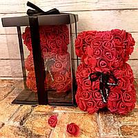 Мишка из 3D роз 25 см в подарочной упаковке, мишка из роз, оригинальный подарок для девушки бордовый ФОТО