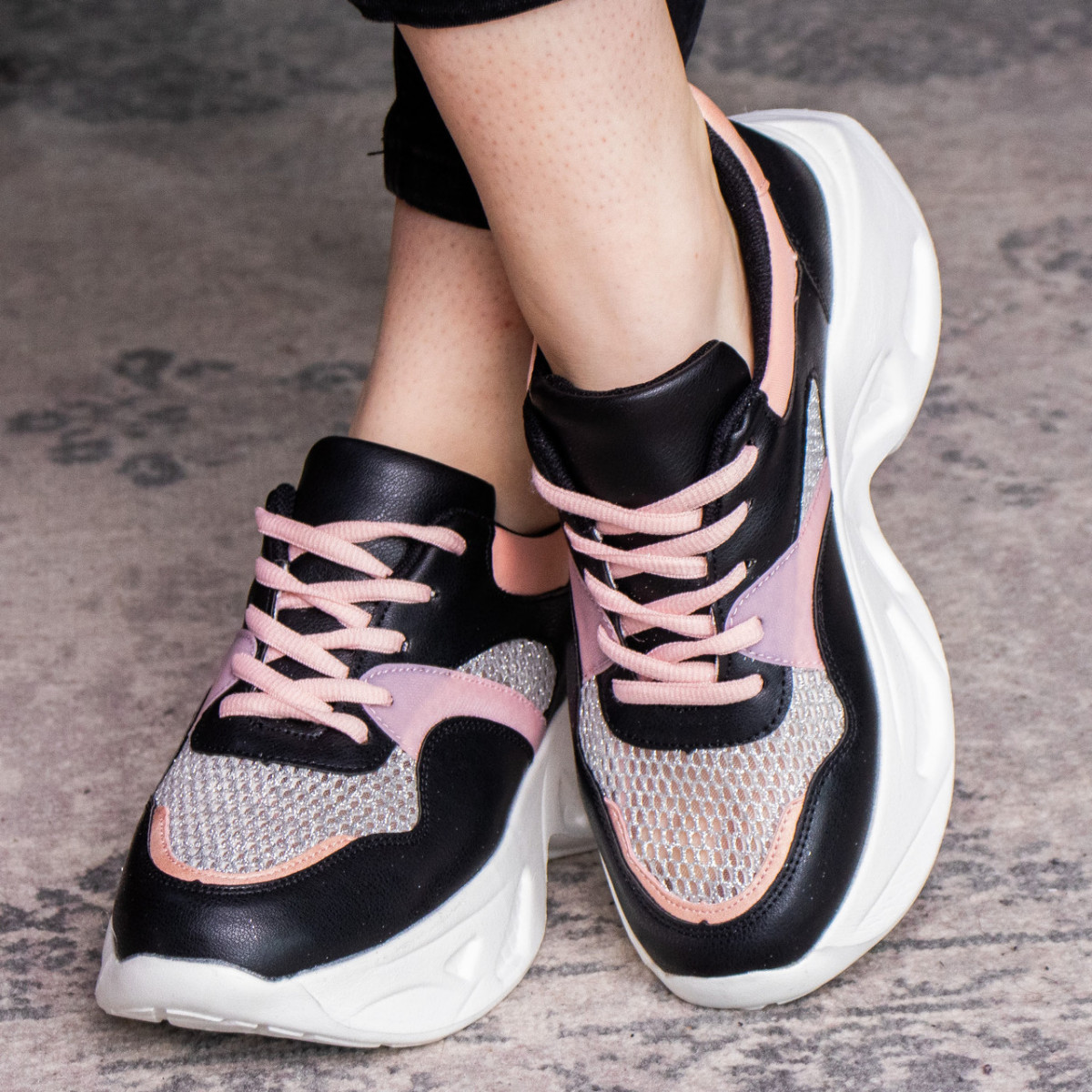 Кроссовки женские Fashion Qihai 2654 36 размер 23,5 см Черный