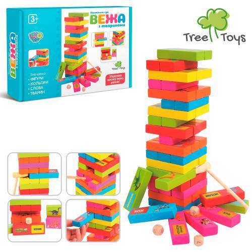 Деревянная игрушка Игра MD 2336 (36шт) Башня, обуч(животные), молоточек, в кор-ке, 24,5-18-5см