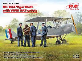 Сборная модель биплана. DH. 82A Tiger Moth с курсантами ВВС Великобритании. 1/32 ICM 32037