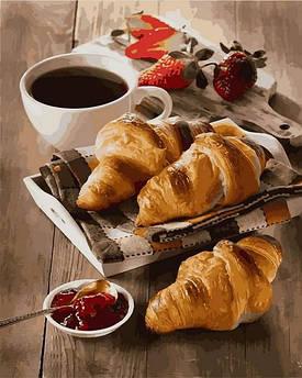 Картина по номерам Mariposa Утро с кофе и круассанами (MR-Q2285) 40 х 50 см