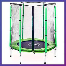 Батут детский для дома с защитной сеткой Atleto 140 см диаметр зеленый