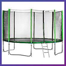 Батут для детей и взрослых для дома с защитной сеткой с лестницей Atleto 465 см зеленый с двойными ногами