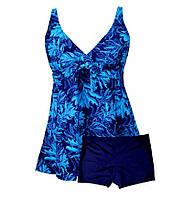 Купальник большие размеры 62  Diana синий с абстрактным принтом голубой, фото 1