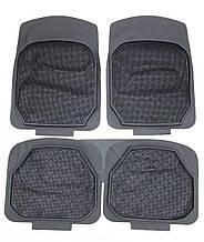 Авто килимки гумові борт 2 см! Килимки в салон автомобіля (4 шт. + перегородка) Чорний. KCM-0818