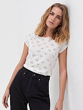 Женская футболка белая с принтом ECO AWARE, размер XS