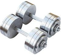 Гантелі 2 по 24 кг розбірні метал (металеві гантелі розбірні наборні набірні для будинку металеві), фото 1