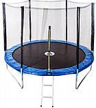 Батут для дітей і дорослих для дому з захисною сіткою з сходами Atleto 374 см діаметр синій, фото 3