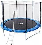 Батут для детей и взрослых для дома с защитной сеткой с лестницей Atleto 465 см диаметр синий, фото 5