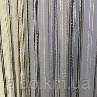 Тюль серпанок з люрексом для будинку квартири кімнати кабінету, штори люрекс в кухню спальню зал, штори-нитки для кухні залу, фото 4