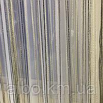 Тюль серпанок з люрексом для будинку квартири кімнати кабінету, штори люрекс в кухню спальню зал, штори-нитки для кухні залу, фото 6
