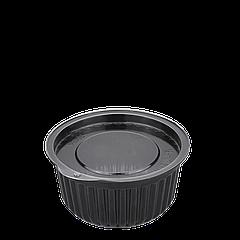 Соусница (черная) пластиковая с крышкой 50мл 1уп/100шт