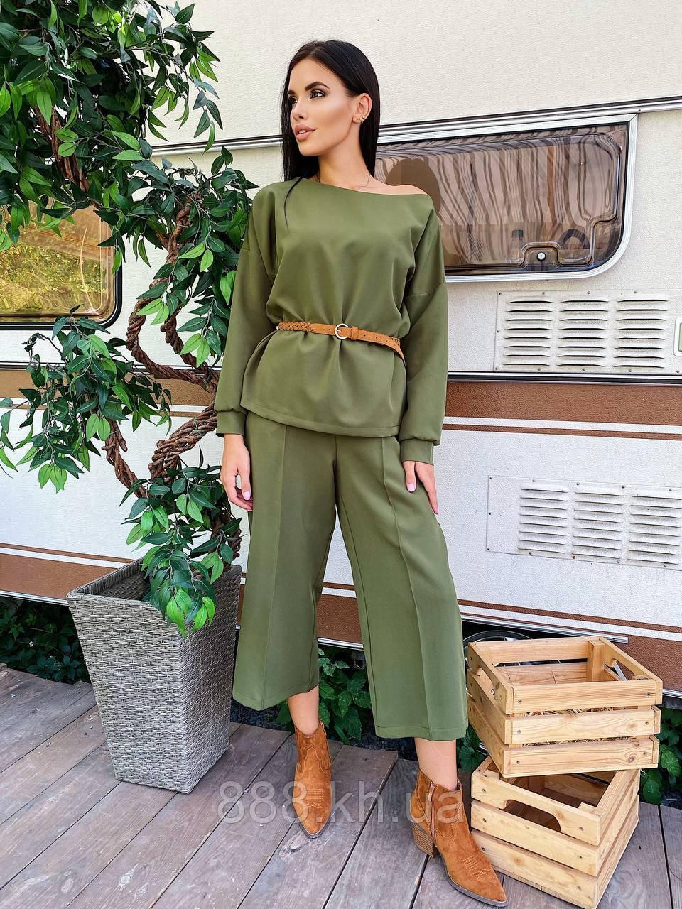 Прогулочный женский костюм с широкими штанами Calvin весна/лето, 42-44/46-48, цвет хаки
