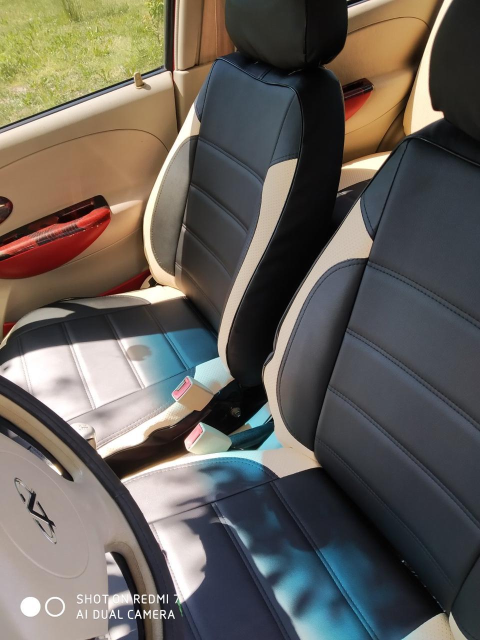Чохли на сидіння Фольксваген Кадді модельні MAX-L з екошкіри, 1+1 - на передні сидіння Чорно-бежевий