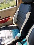 Чохли на сидіння Фольксваген Кадді модельні MAX-L з екошкіри, 1+1 - на передні сидіння Чорно-бежевий, фото 2