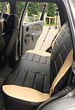 Чохли на сидіння Фольксваген Кадді модельні MAX-L з екошкіри, 1+1 - на передні сидіння Чорно-бежевий, фото 3
