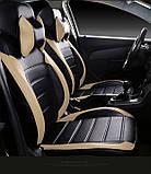 Чохли на сидіння Фольксваген Кадді модельні MAX-L з екошкіри, 1+1 - на передні сидіння Чорно-бежевий, фото 4