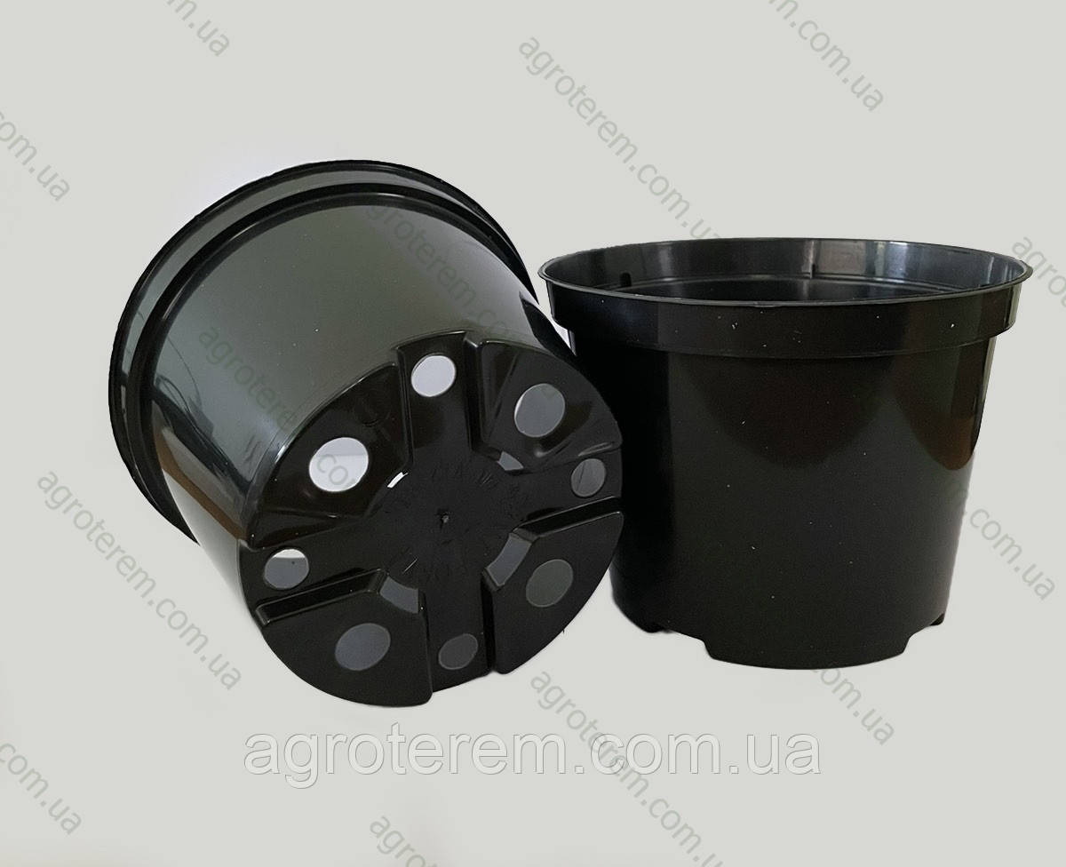 Горшок стакан 130мм х 97мм. (Польша), технологический для рассады круглый черный.