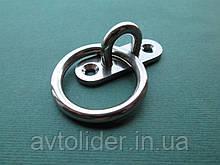 Нержавеющий мачтовый обушок на овальном основании, с кольцом.