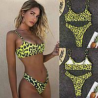 Раздельный купальник бикини топ лимонный с леопардовым принтом