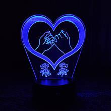 Акриловий світильник-нічник Кохання Серце 3 синій tty-n000386