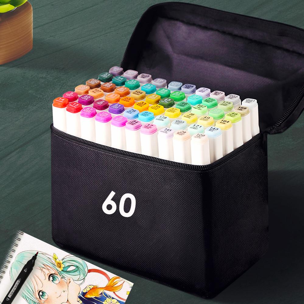Набор скетч маркеров 60 шт для рисования фломастеры для рисования спиртовые двухсторонние белые