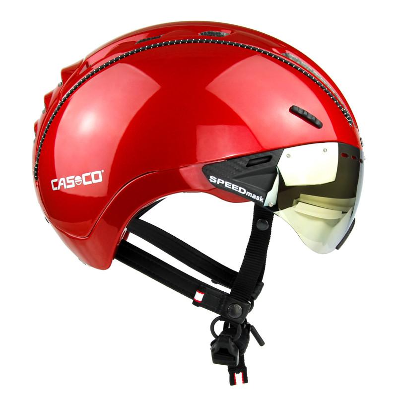 Велошлем Casco Roadster plus Red shiny incl.visor