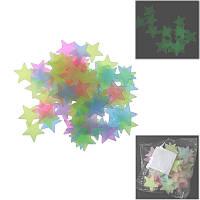 100шт. Звезды наклейки светящиеся в темноте на стену потолок ~3 см, микс цвета