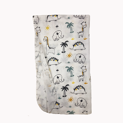 Пеленка детская, 80*100 см, (хлопок/муслин), (слоники, жирафы с мятными пальмами на белом)