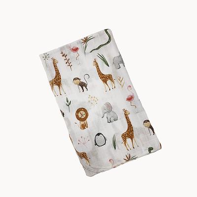 Пеленка детская, 80*100 см, (хлопок/муслин), (акварель львы, жирафы, бегемоты на белом)