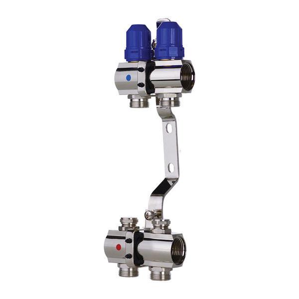 """Коллекторный блок с термостатическими клапанами KOER KR.1100-02 1""""x2 WAYS (KR2628)"""