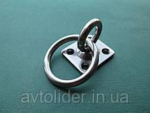 Нержавеющий вертлюжный обух на квадратном основании, с кольцом.