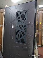 Двери входные R 1200 RAL-8019 РАМА 100мм+ковка+стекло S-2