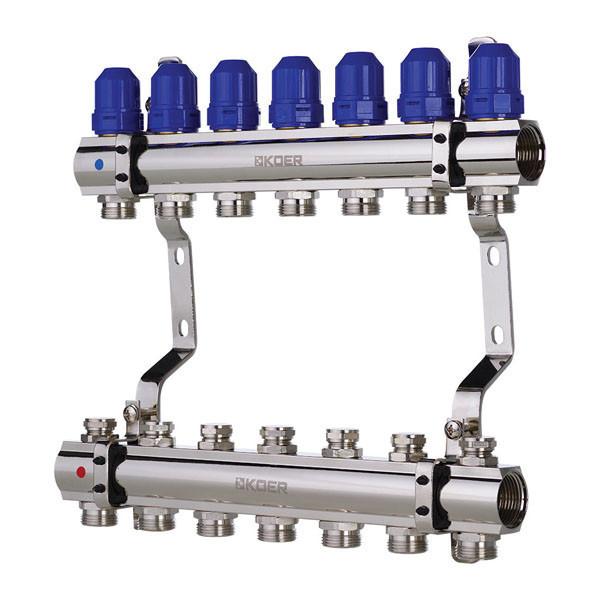 """Коллекторный блок с термостатическими клапанами KOER KR.1100-07 1""""x7 WAYS (KR2633)"""