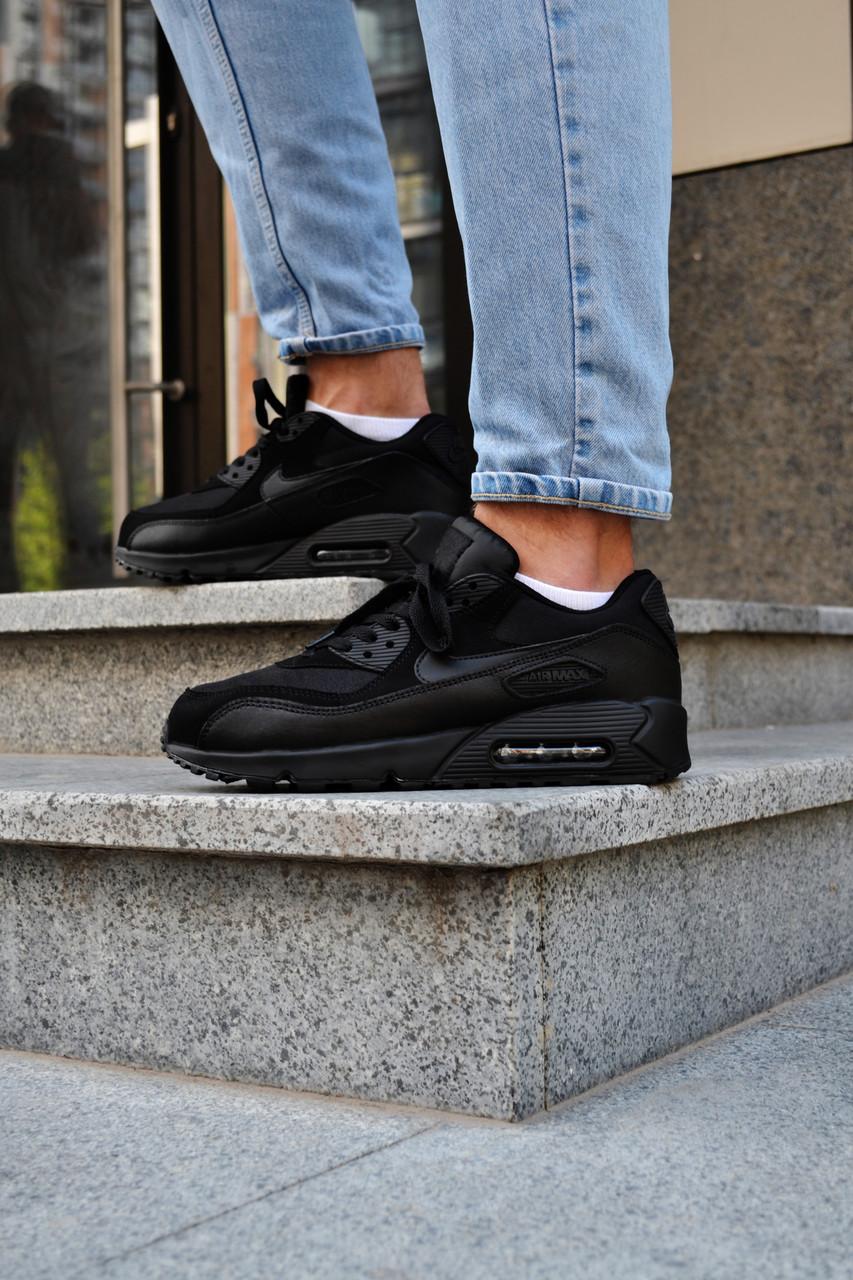 Кросівки чоловічі Nike Air Max 90 Triple Black Найк Аір Макс 90 Репліка