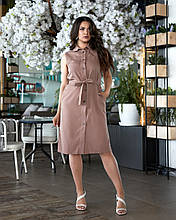 Летнее платье женское Турецкий лен Размер 50 52 54 56 В наличии 4 цвета