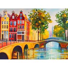 """Холст с контуром  Города """"Амстердам"""" (30см*40см), хлопок, акрил"""