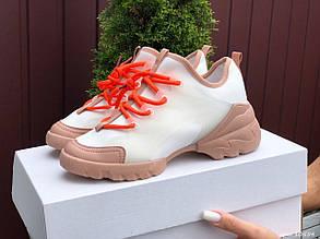 Женские кроссовки Still ( Dior ),белые с оранжевым