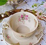 Антикварная фарфоровая чайная двойка, немецкая чашка и  блюдце, Porzellanfabrik Carl Schumann, Германия фарфор, фото 2