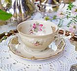 Антикварная фарфоровая чайная двойка, немецкая чашка и  блюдце, Porzellanfabrik Carl Schumann, Германия фарфор, фото 3
